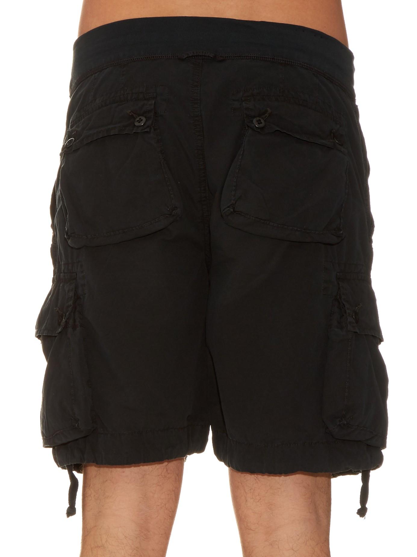 54ac655e0ad6 ... australia lyst polo ralph lauren brushed cotton cargo shorts in black  for men 2e24d 65e75