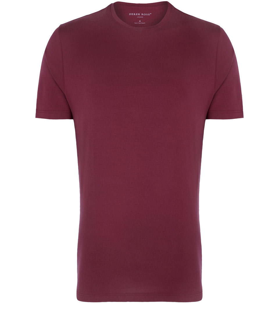 Lyst Derek Rose Burgundy Crew Neck T Shirt In Purple For Men