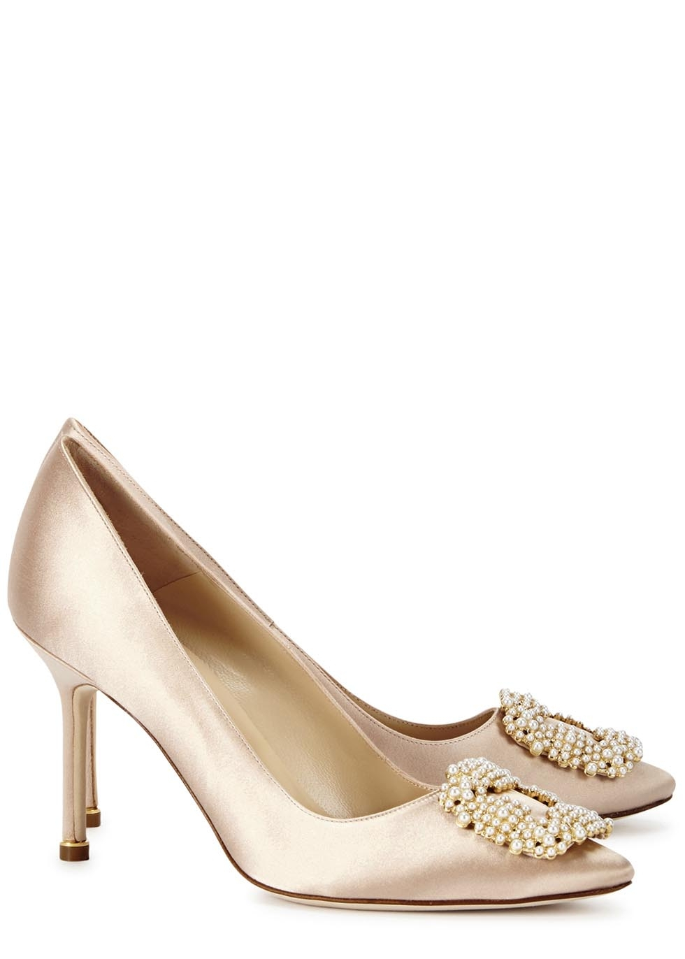 Manolo blahnik hangisipe champagne satin pumps in metallic for Shoes by manolo blahnik