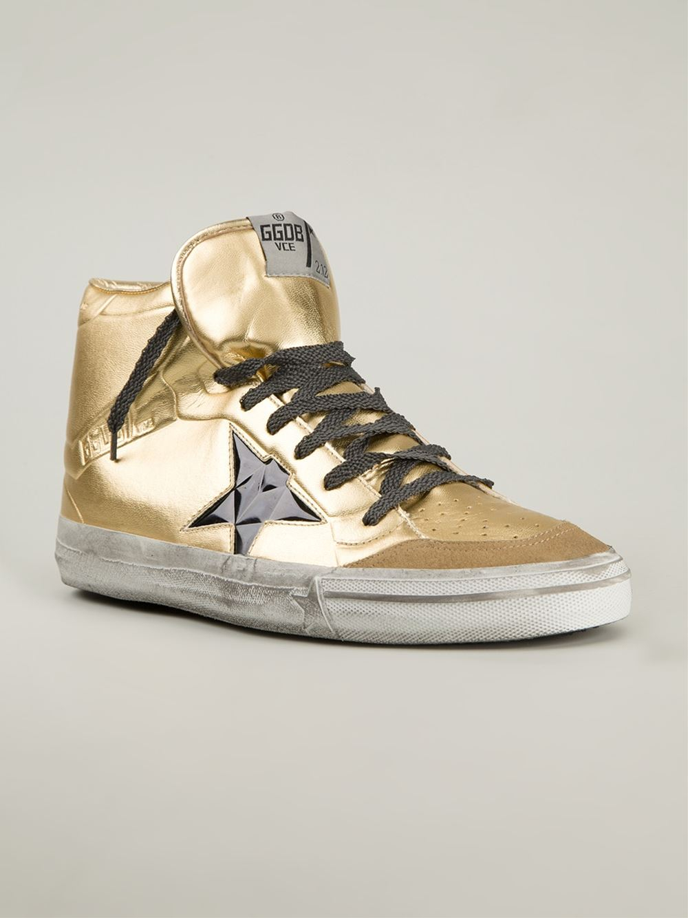 golden goose deluxe brand francy calf leather sneakers in gold for men metallic lyst. Black Bedroom Furniture Sets. Home Design Ideas