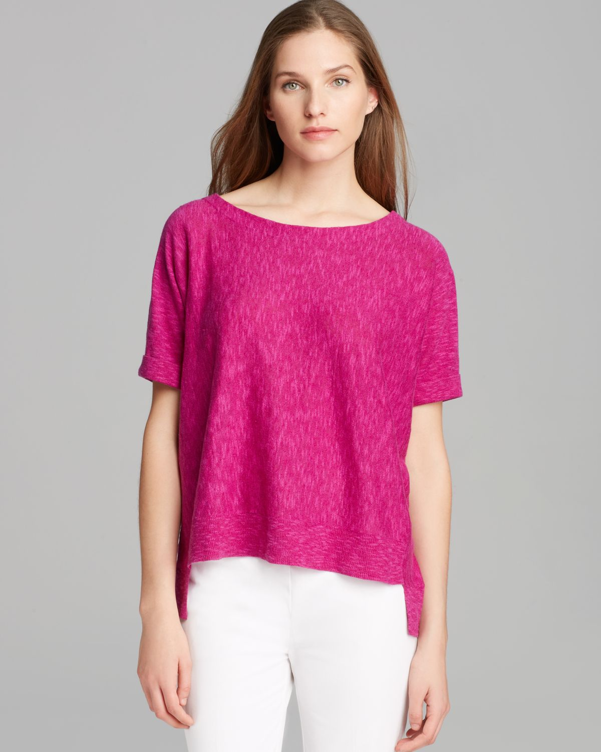 ae340133806b51 Lyst - Eileen Fisher Boat Neck Short Sleeve Box Top in Pink