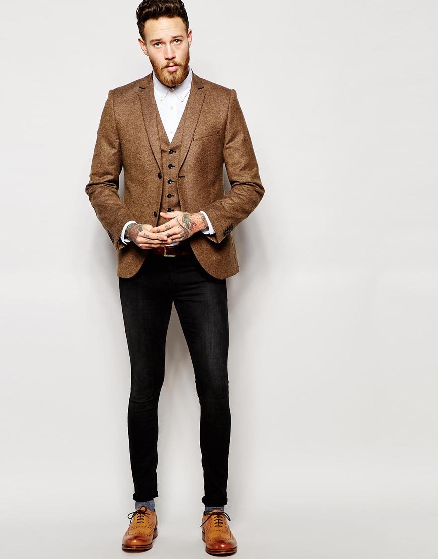 Heart &amp dagger Tweed Blazer In Super Skinny Fit in Brown for Men
