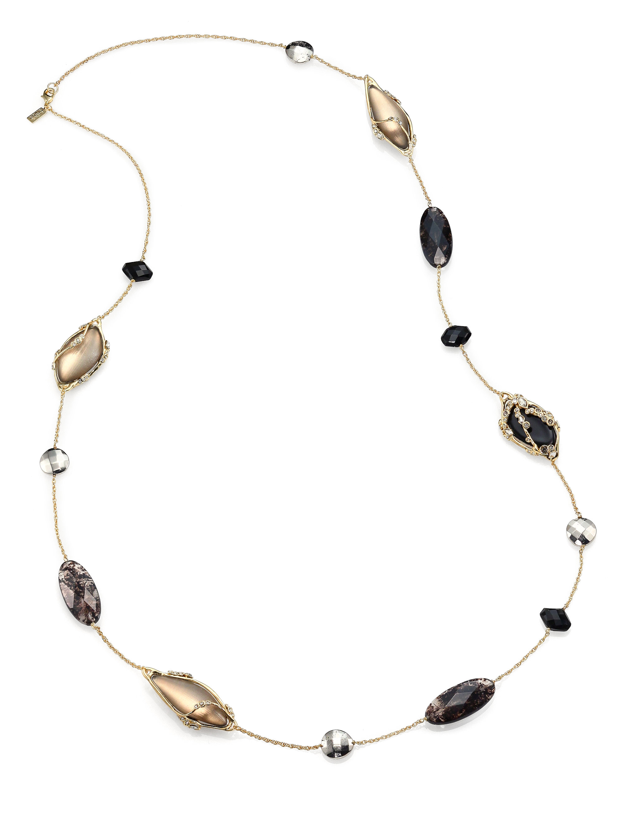 Alexis Bittar Long Beaded Crystal & Pyrite Necklace YS6Nr0Y4