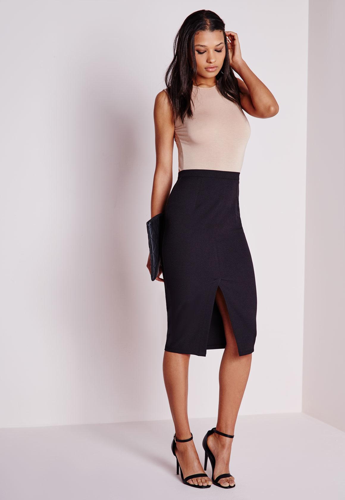 missguided front split bodycon midi skirt black in black