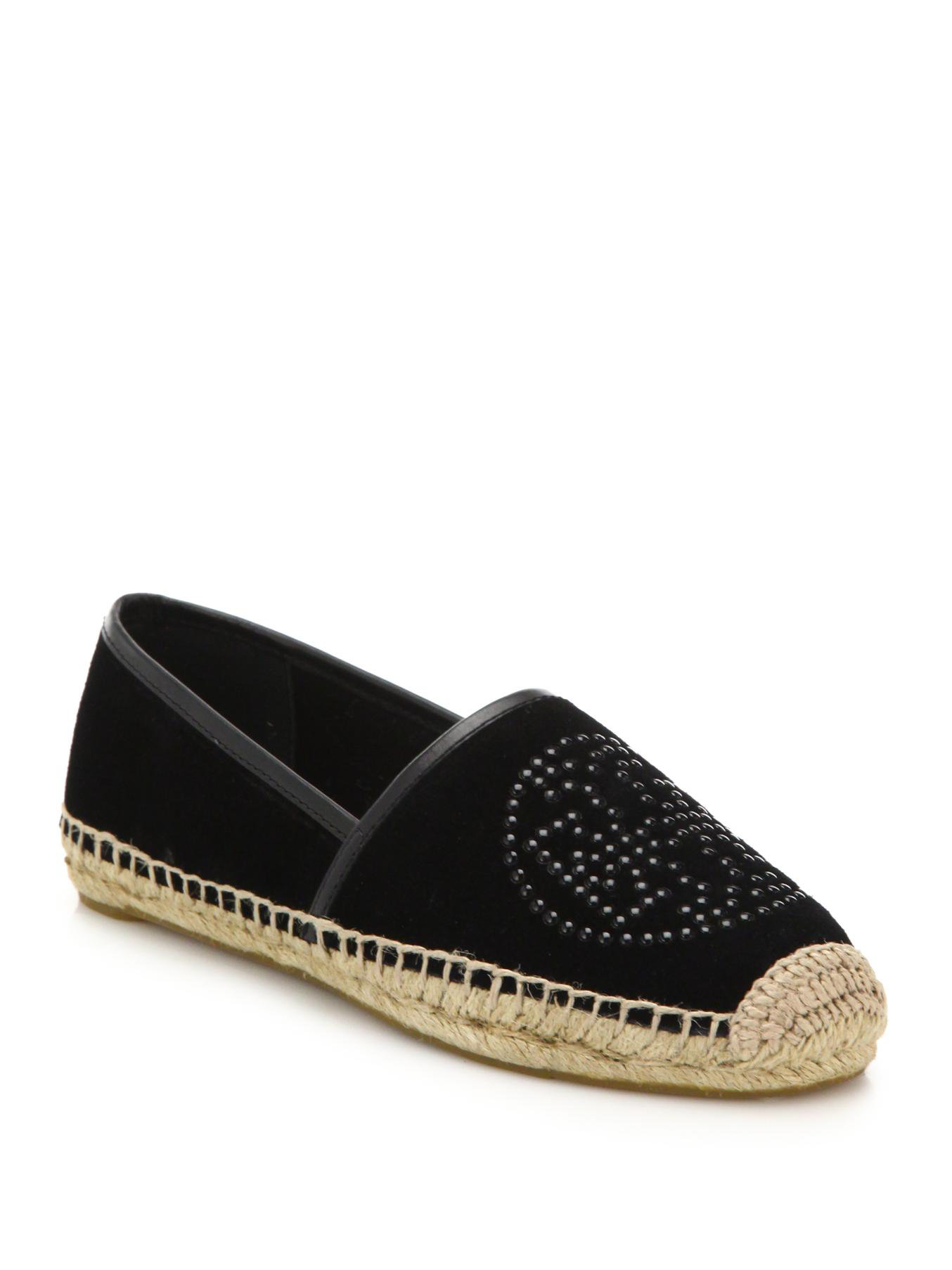 7209993ab5b6 ... discount code for lyst tory burch kirby suede espadrille flats in black  07dd8 2e79f