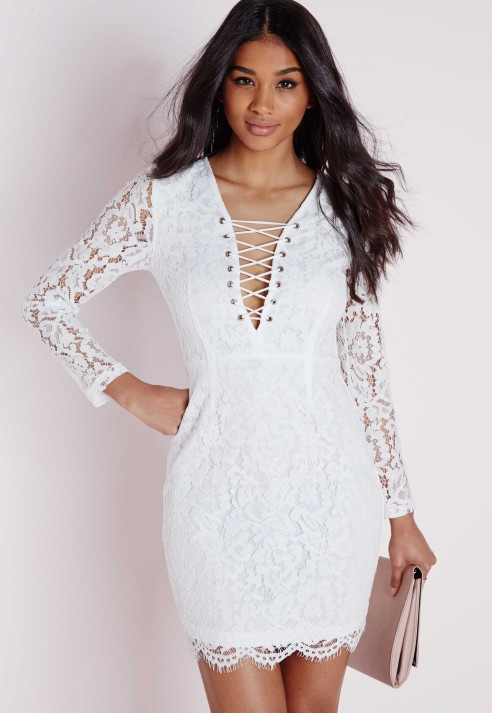 8986a7669eb7 Missguided Lace Tie Up Front Mini Dress White in White - Lyst