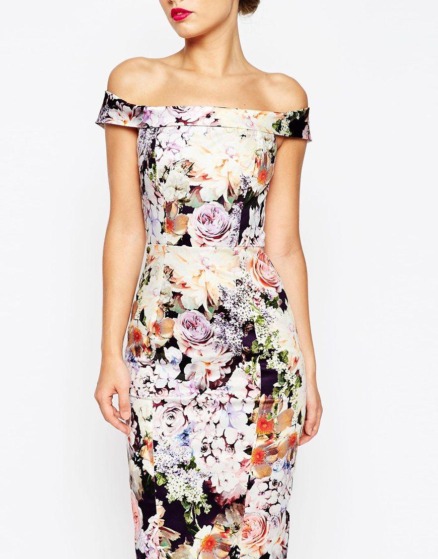 Asos wedding bardot navy floral off shoulder pencil dress for Pencil dress for wedding