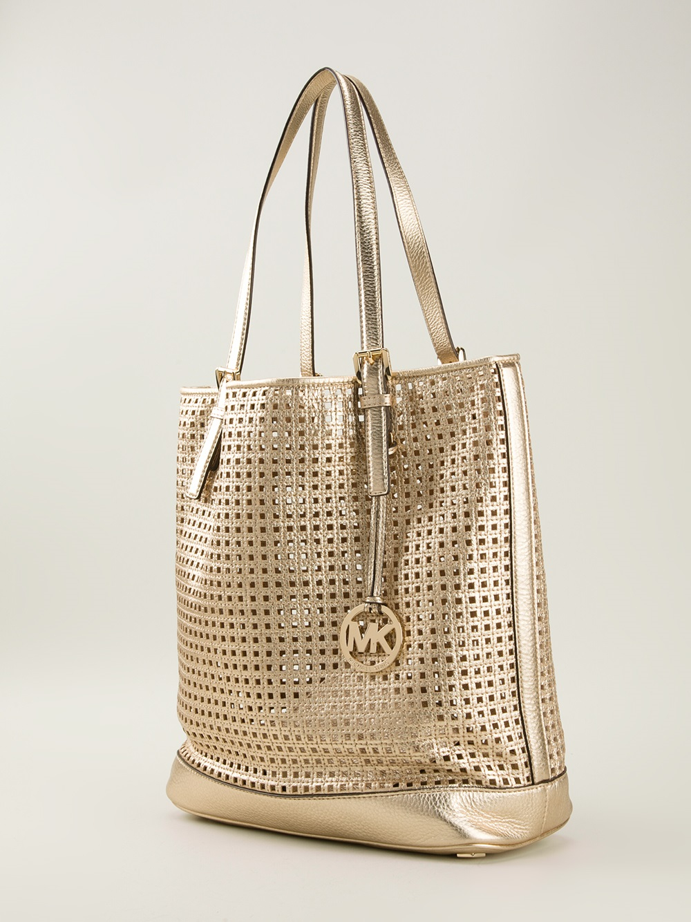 michael michael kors perforated shopper tote in metallic. Black Bedroom Furniture Sets. Home Design Ideas