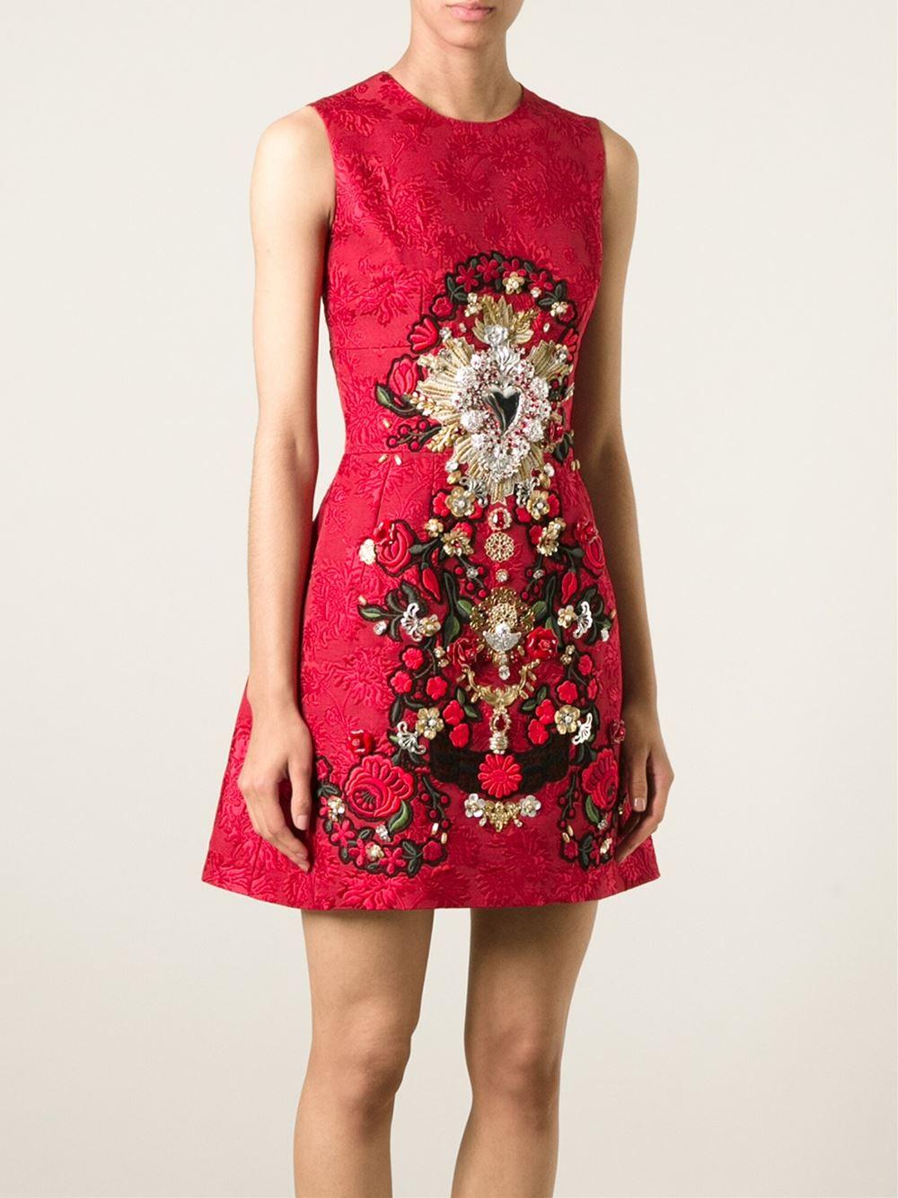 Dolce Amp Gabbana Sacred Heart Appliqu 233 Dress In Red Lyst
