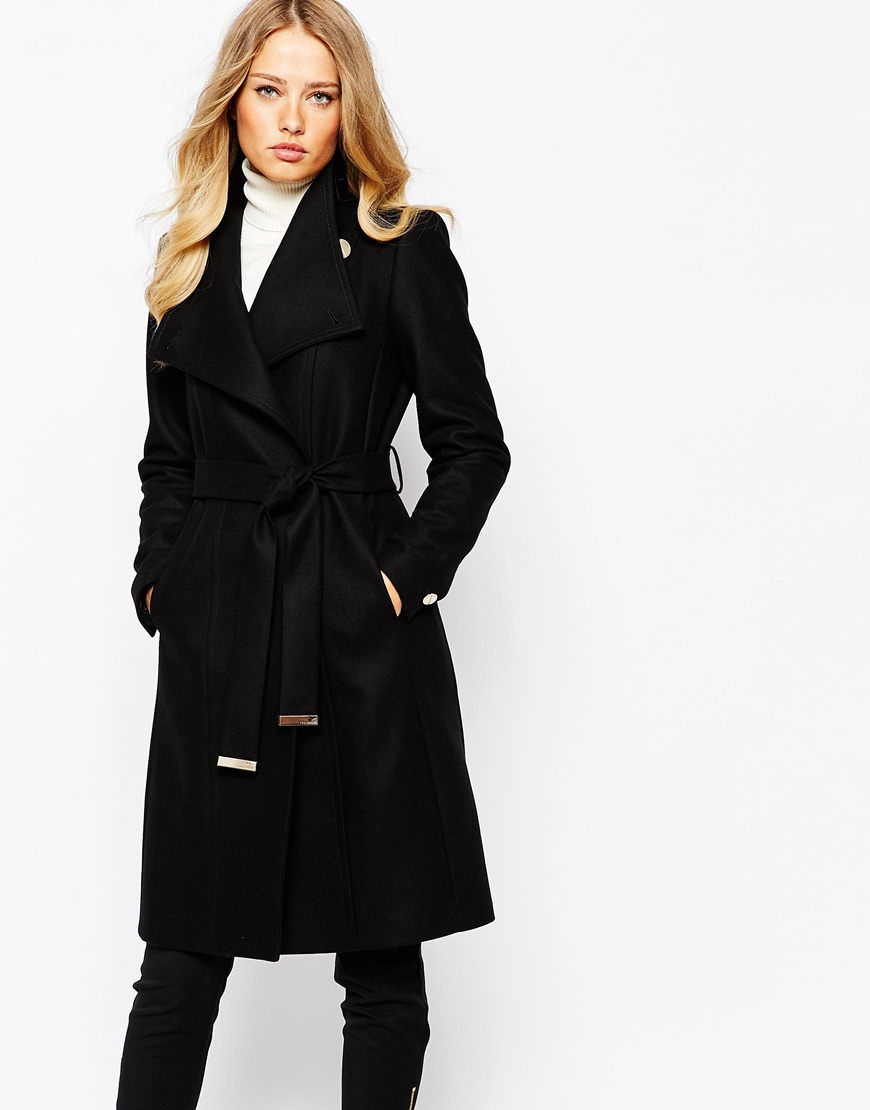Lyst Ted Baker Lorili Long Button Detail Wrap Coat In Black