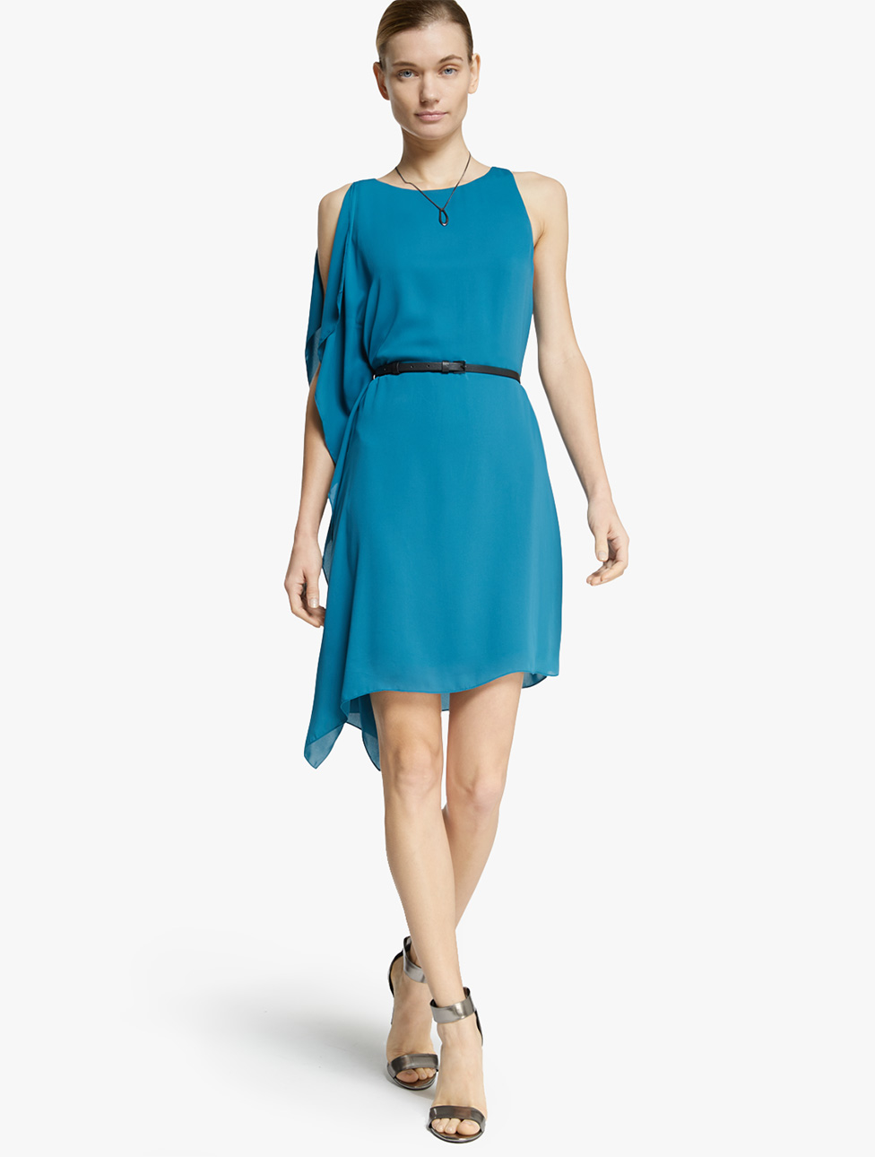 Lyst - Halston Flowy Georgette Dress in Blue