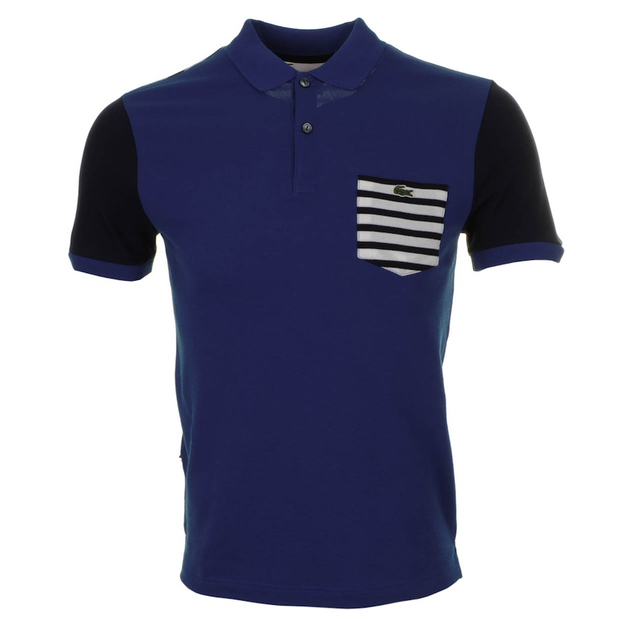 Lacoste l ive stripe pocket polo t shirt in blue for men for Polo t shirts with pockets