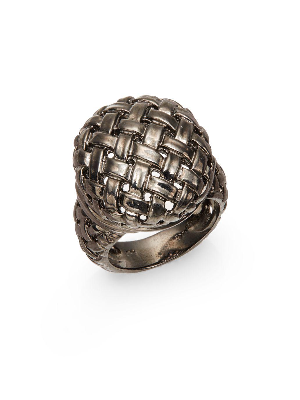 Basket Weaving Jewelry : Slane sterling silver basketweave ring in metallic lyst