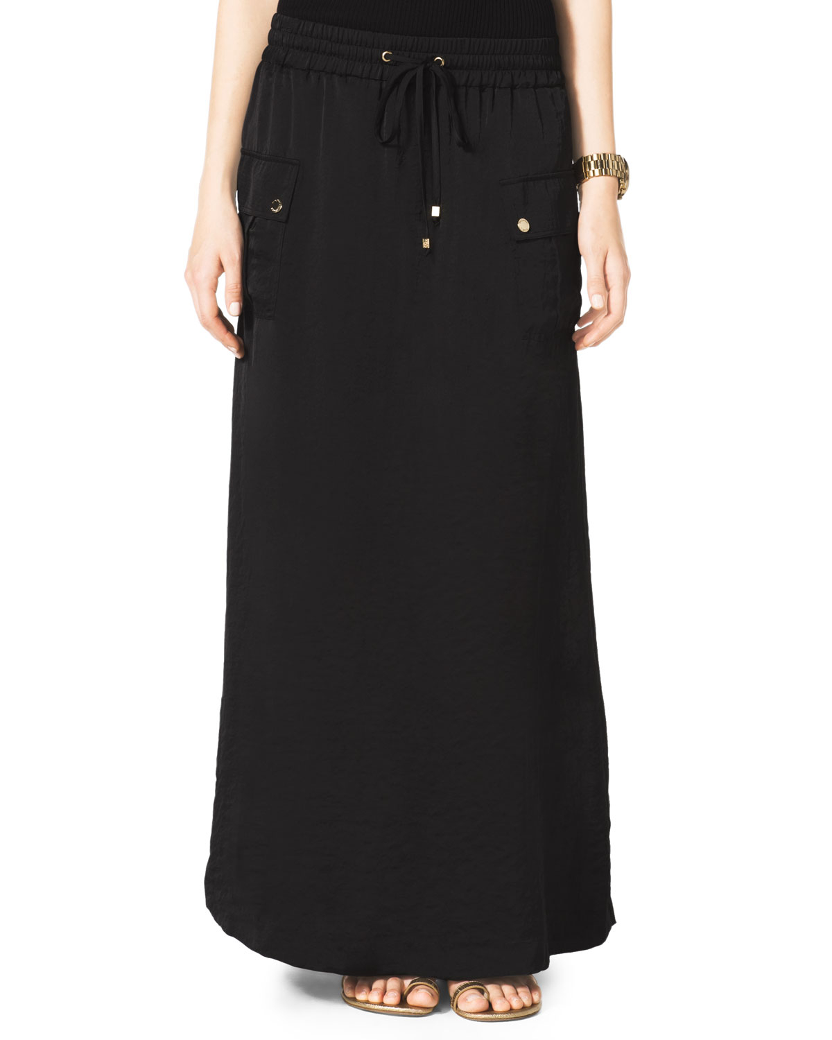 michael by michael kors cargo maxi skirt in black black