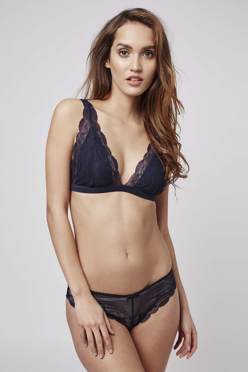 ce736f9858d28 TOPSHOP Jersey Lace Triangle Bra in Blue - Lyst