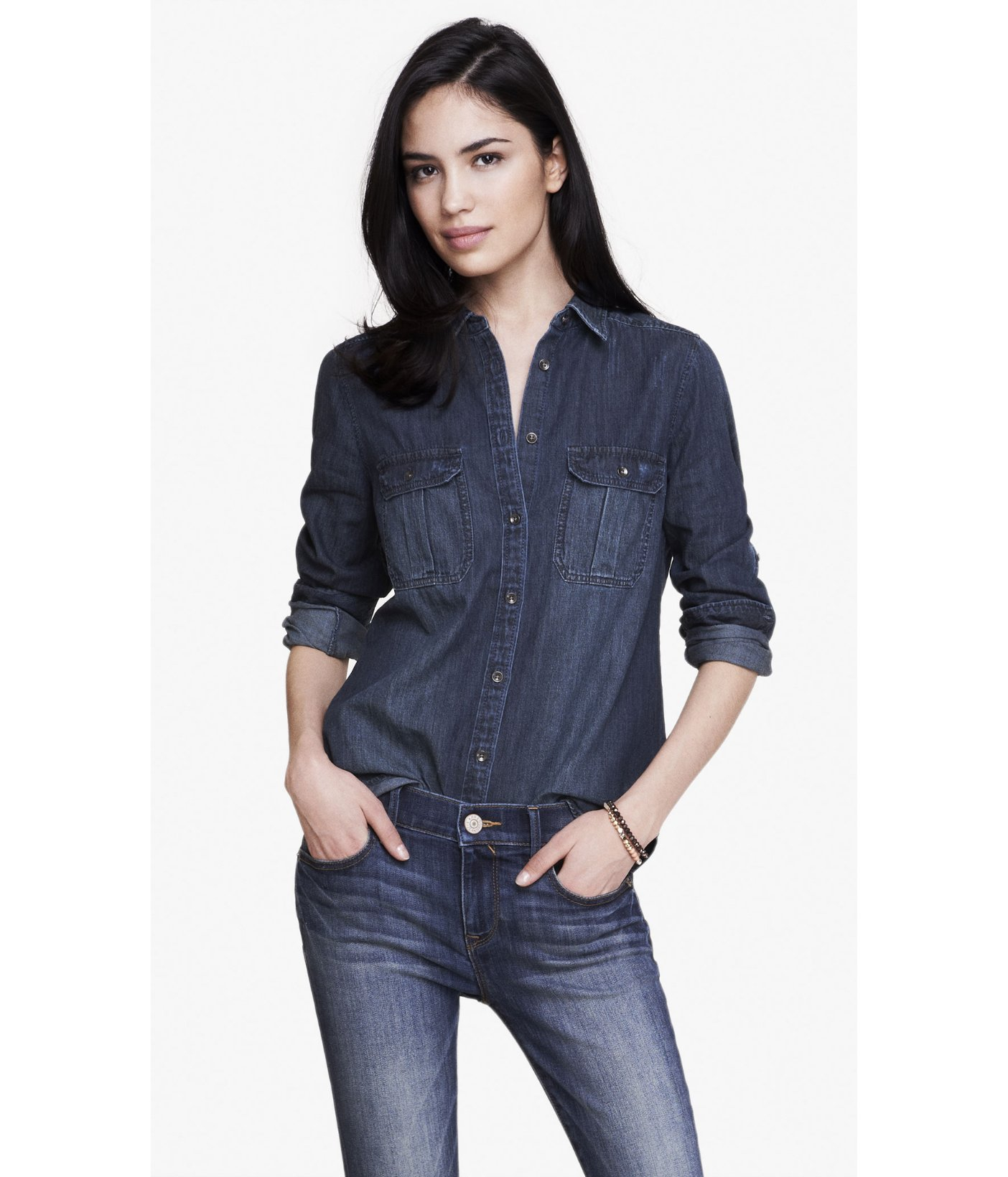 Express Dark Wash Fitted Denim Shirt in Blue | Lyst