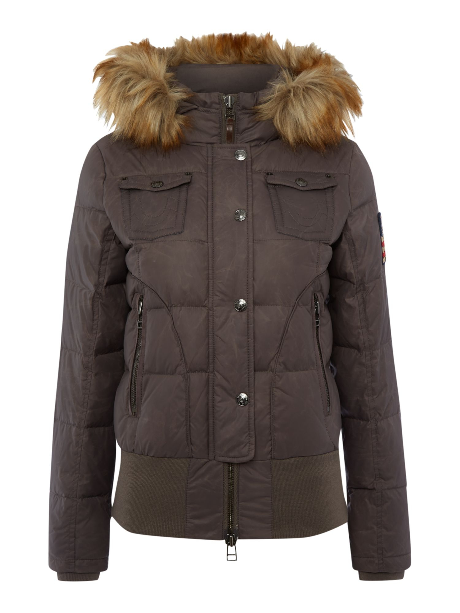 true religion short jacket with a faux fur hood in stone. Black Bedroom Furniture Sets. Home Design Ideas