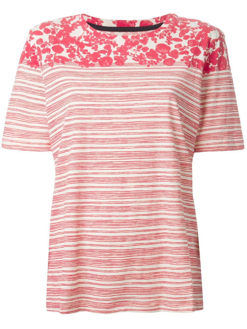 tory burch striped leaf print t shirt in red lyst