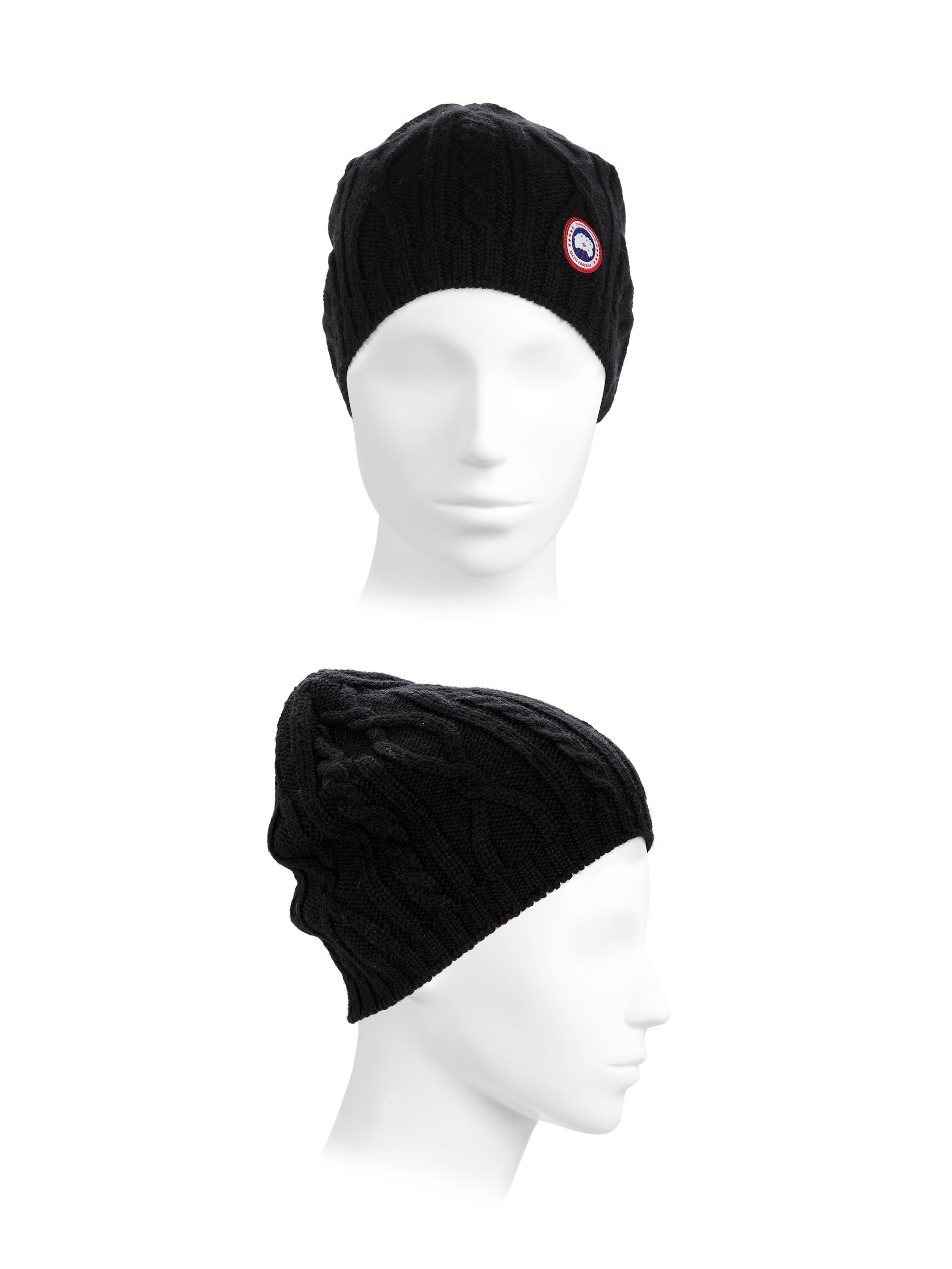 Lyst - Canada Goose Cable-knit Merino Wool Beanie in Black 8cfc940ef90