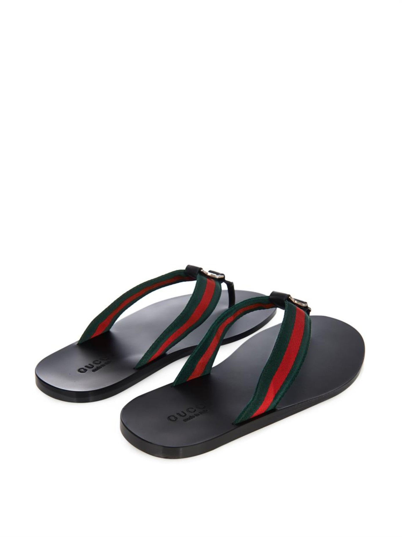 2129e0a2c923 Lyst - Gucci Web Thong Flip-Flops in Black for Men