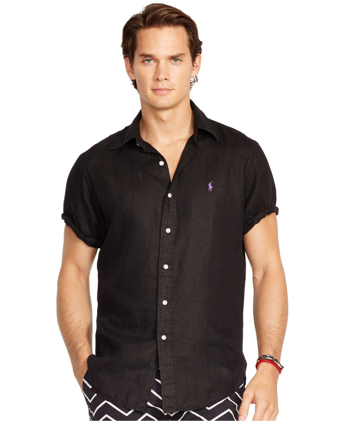 polo ralph lauren short sleeved linen shirt in black for