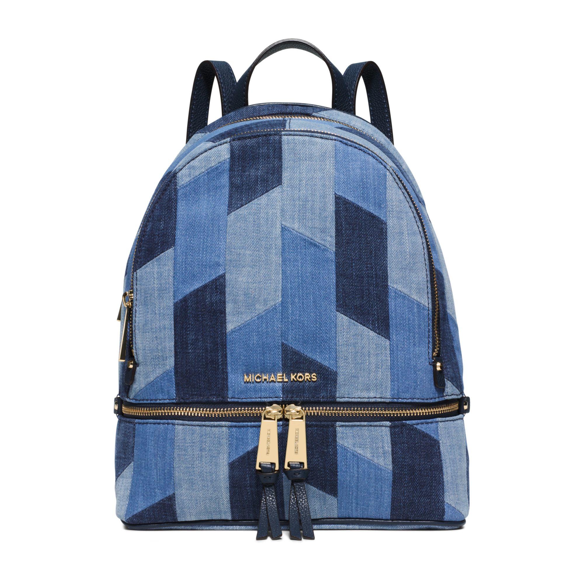 c79f2fa3559aa8 Michael Kors Rhea Medium Mosaic Patchwork Denim Backpack in Blue - Lyst