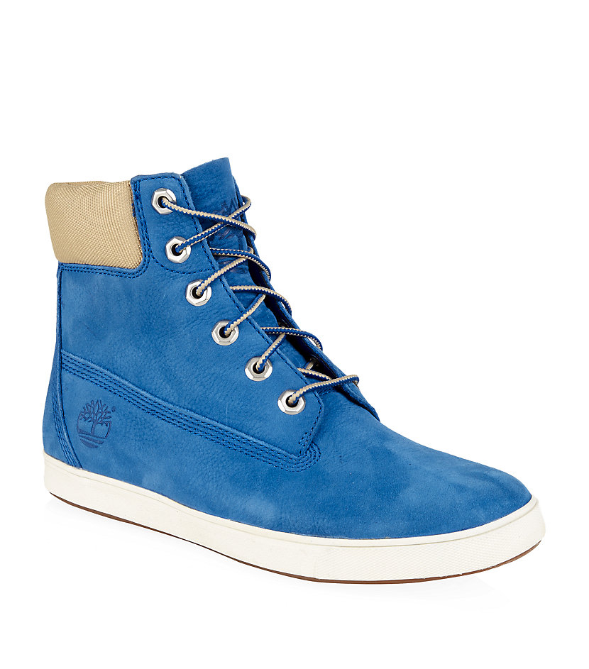 timberland deering 6 flat boot in blue lyst