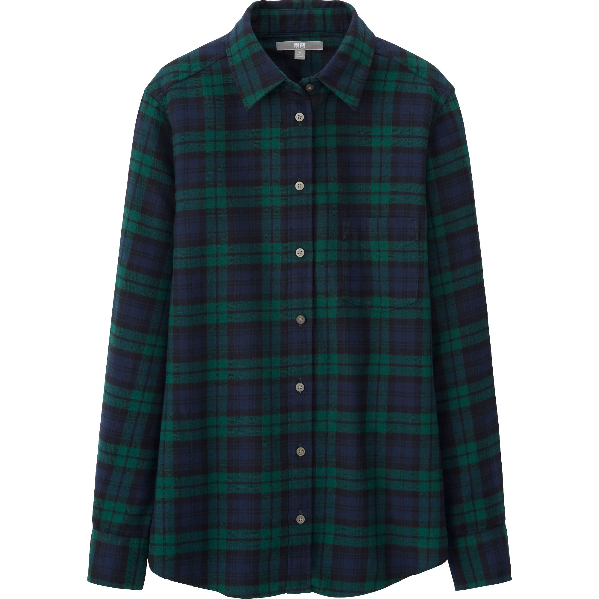 Uniqlo Women Flannel Check Long Sleeve Shirt In Green For