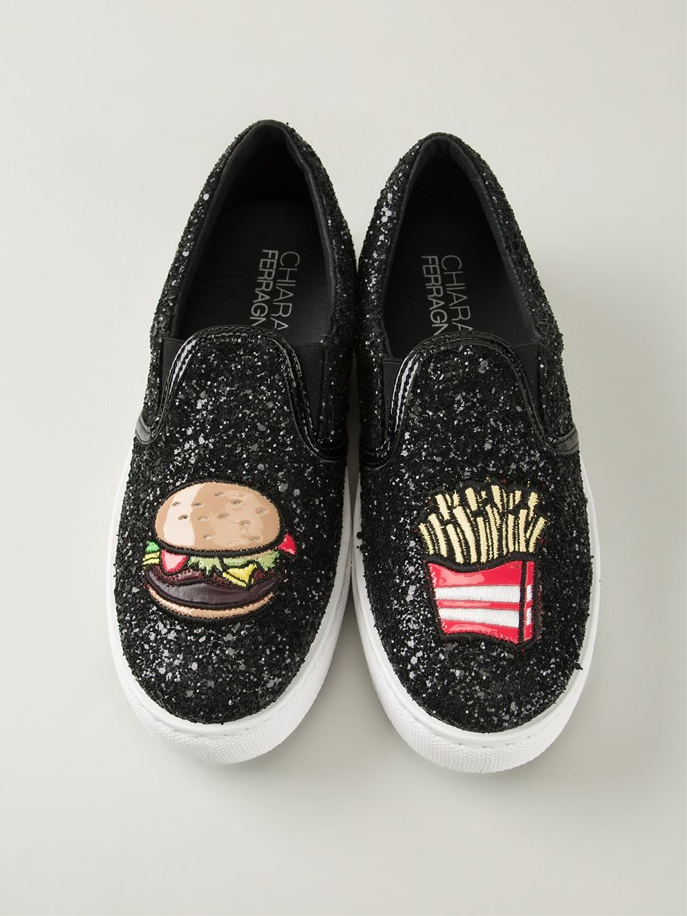 chiara ferragni glitter 39 fast food 39 slip ons in black lyst. Black Bedroom Furniture Sets. Home Design Ideas