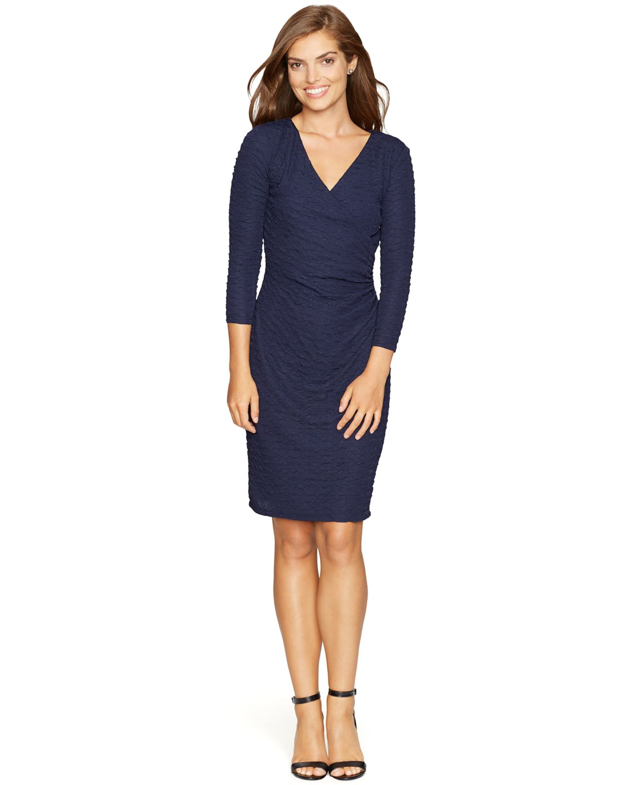 American Living Textured Faux Wrap Dress In Blue Lyst