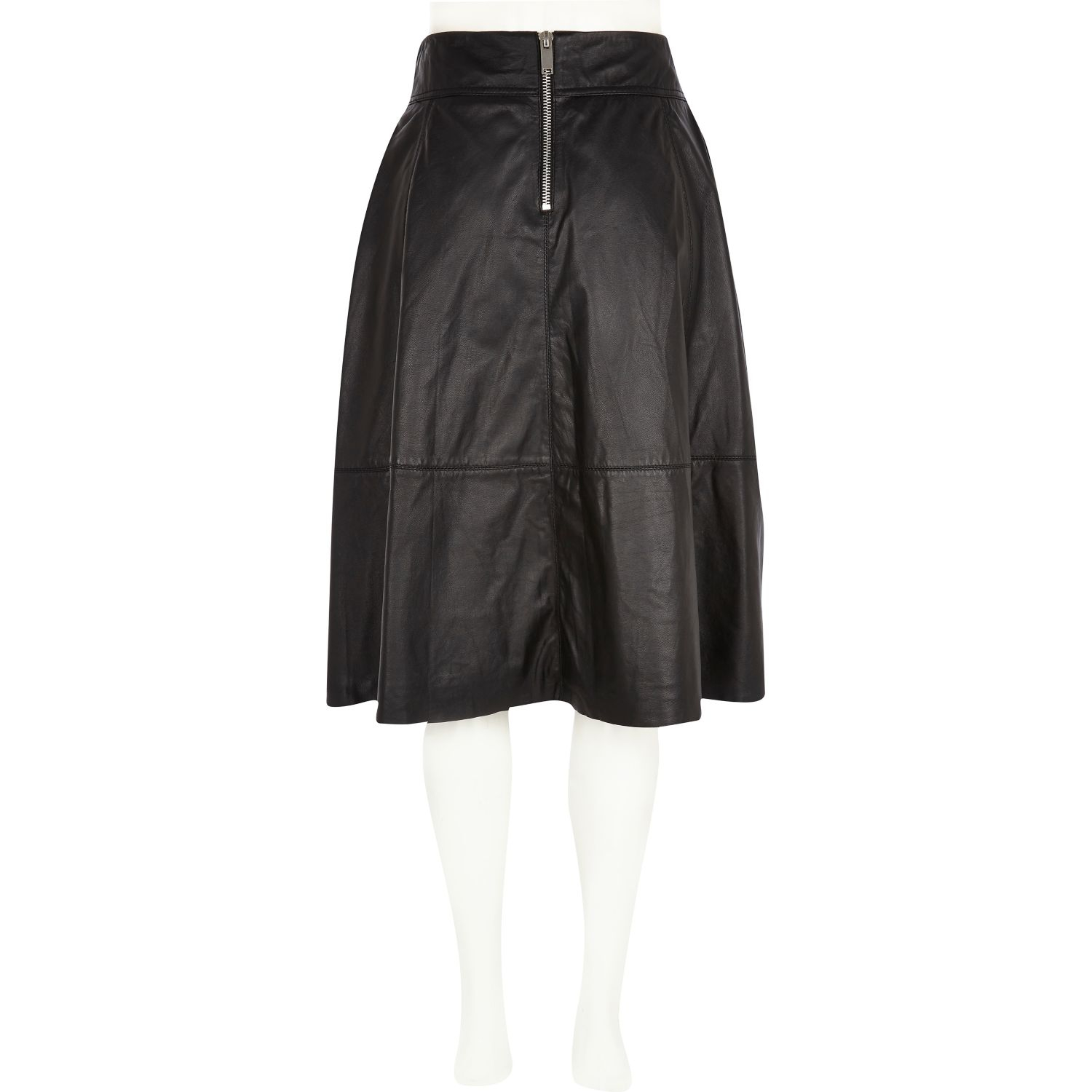 river island black leather a line midi skirt in black lyst
