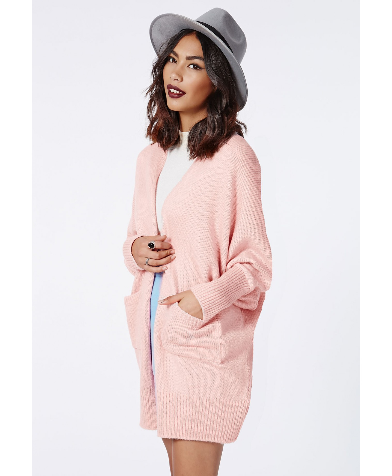 Missguided Valene Oversize Batwing Slouch Cardigan Pale Pink in ...