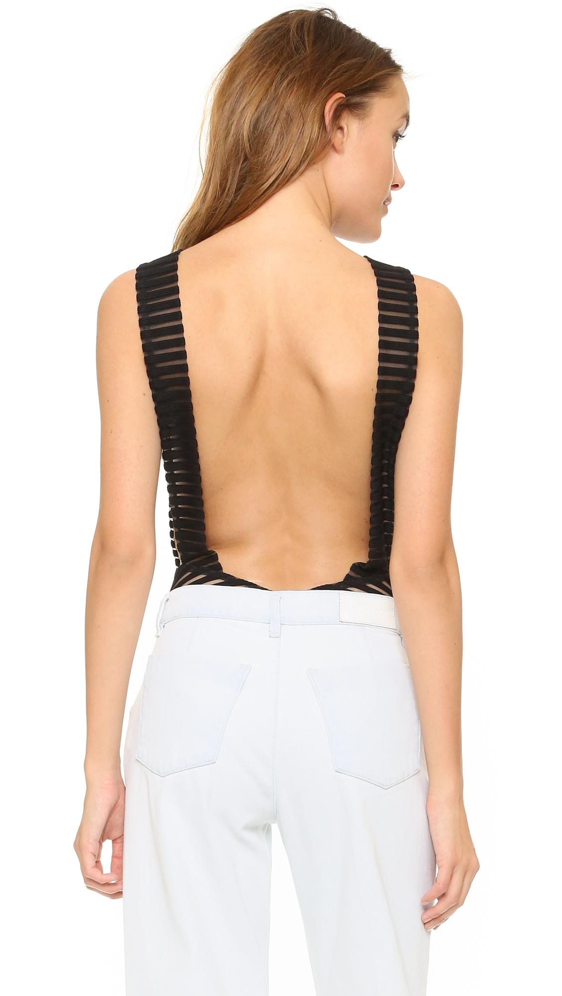 Aq/aq Sydney Backless Bodysuit with Plunge Neck in Black