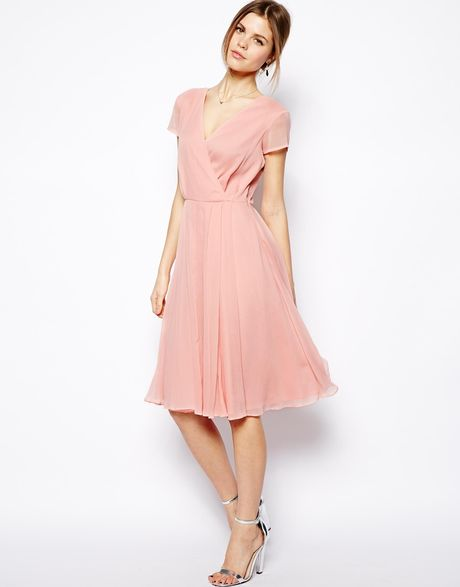 Asos Wrap Dress In Midi Length In Pink Lyst
