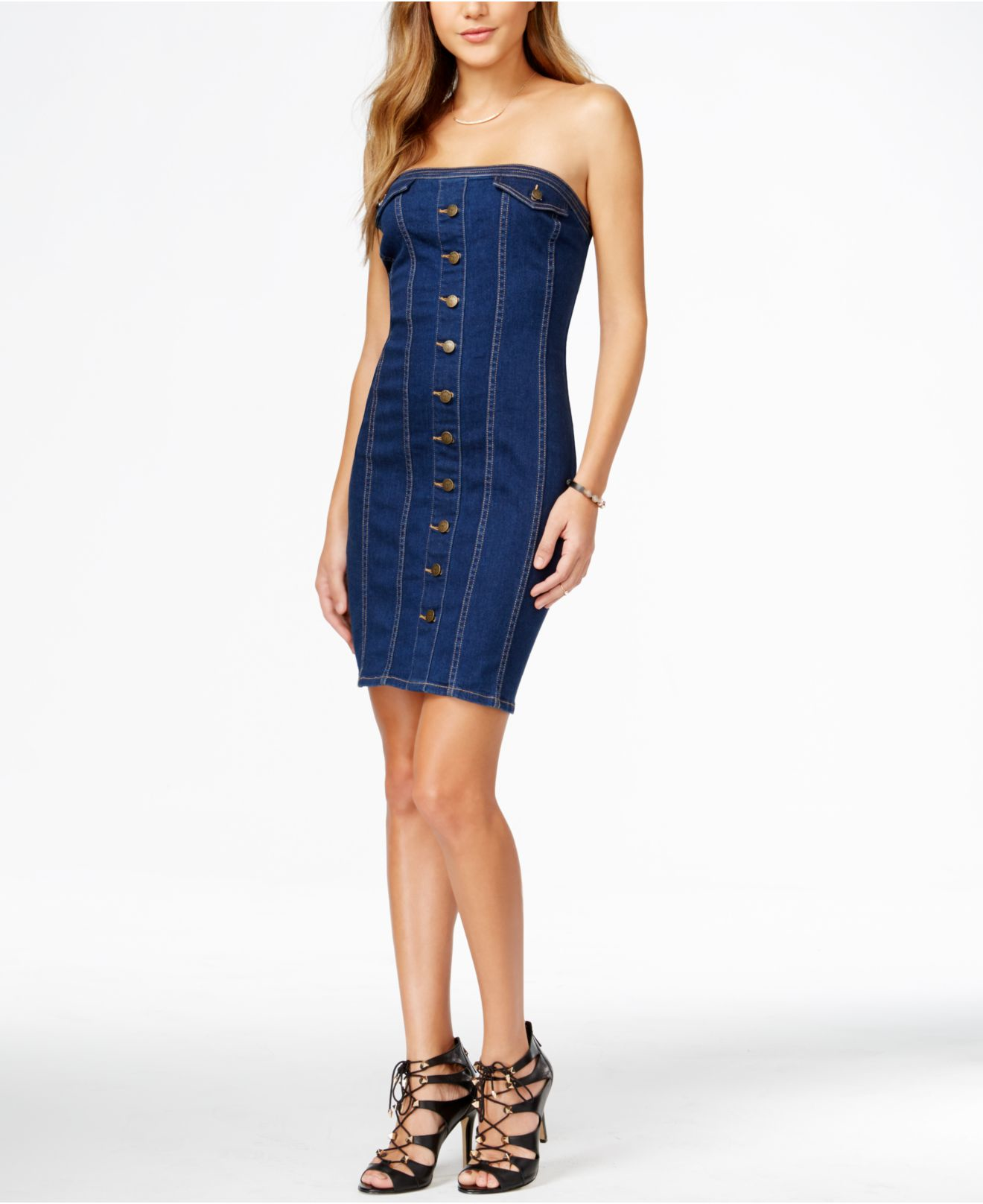 Guess Strapless Denim Bodycon Dress in Blue | Lyst