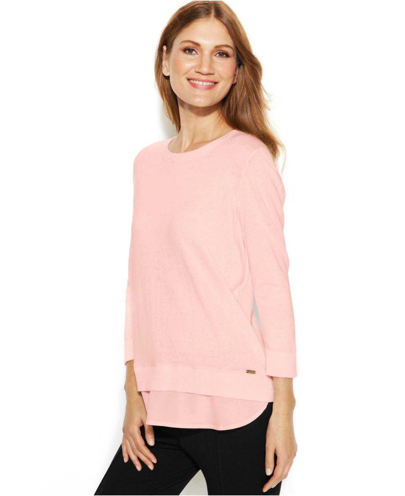 lyst calvin klein split back layered look sweater in pink. Black Bedroom Furniture Sets. Home Design Ideas