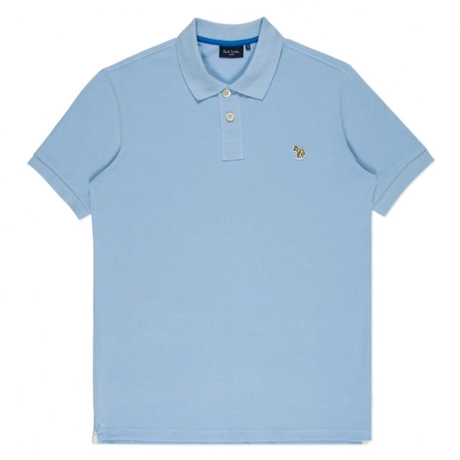 Lyst paul smith men 39 s light blue organic cotton zebra for Cotton polo shirts with logo