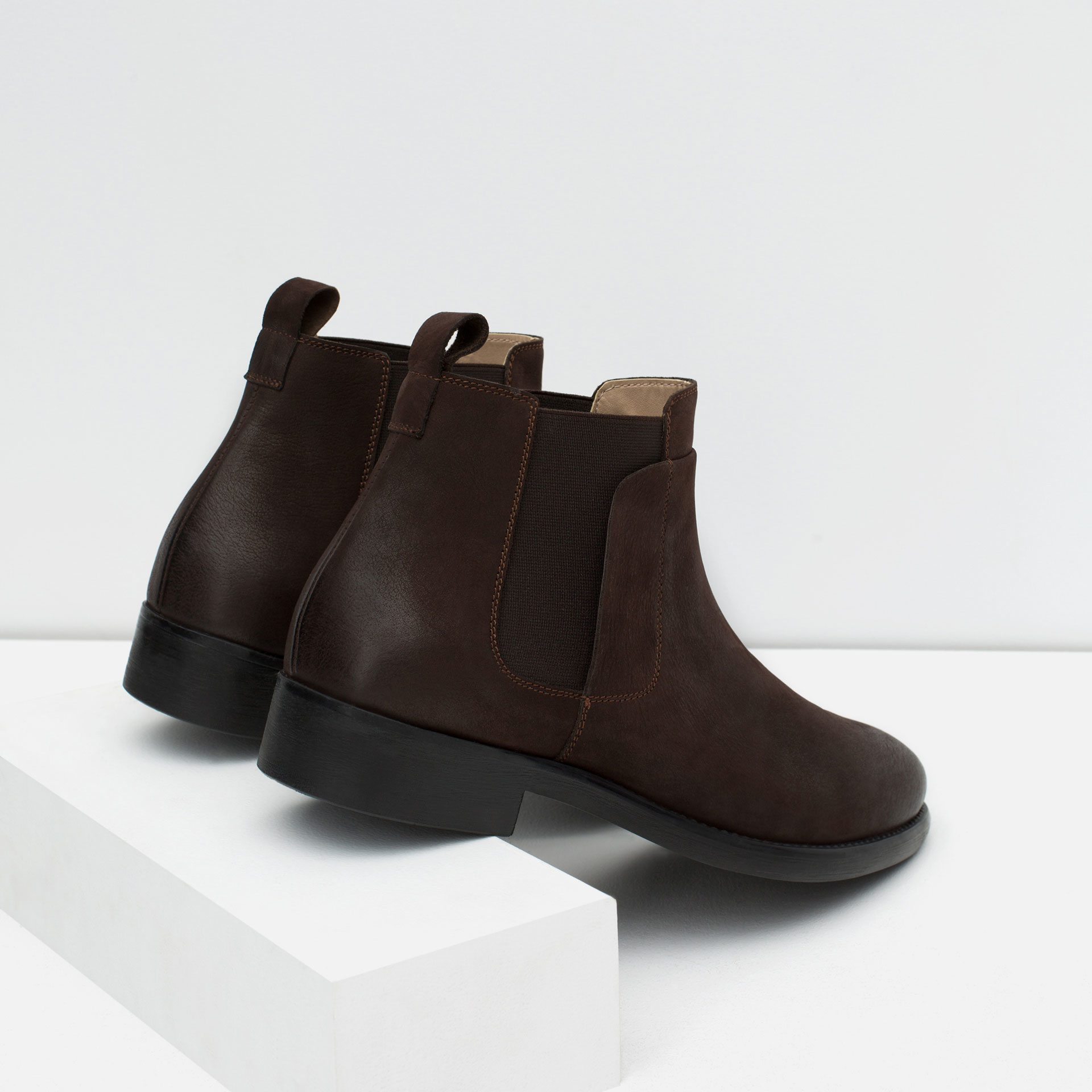 zara leather chelsea boots in brown for lyst