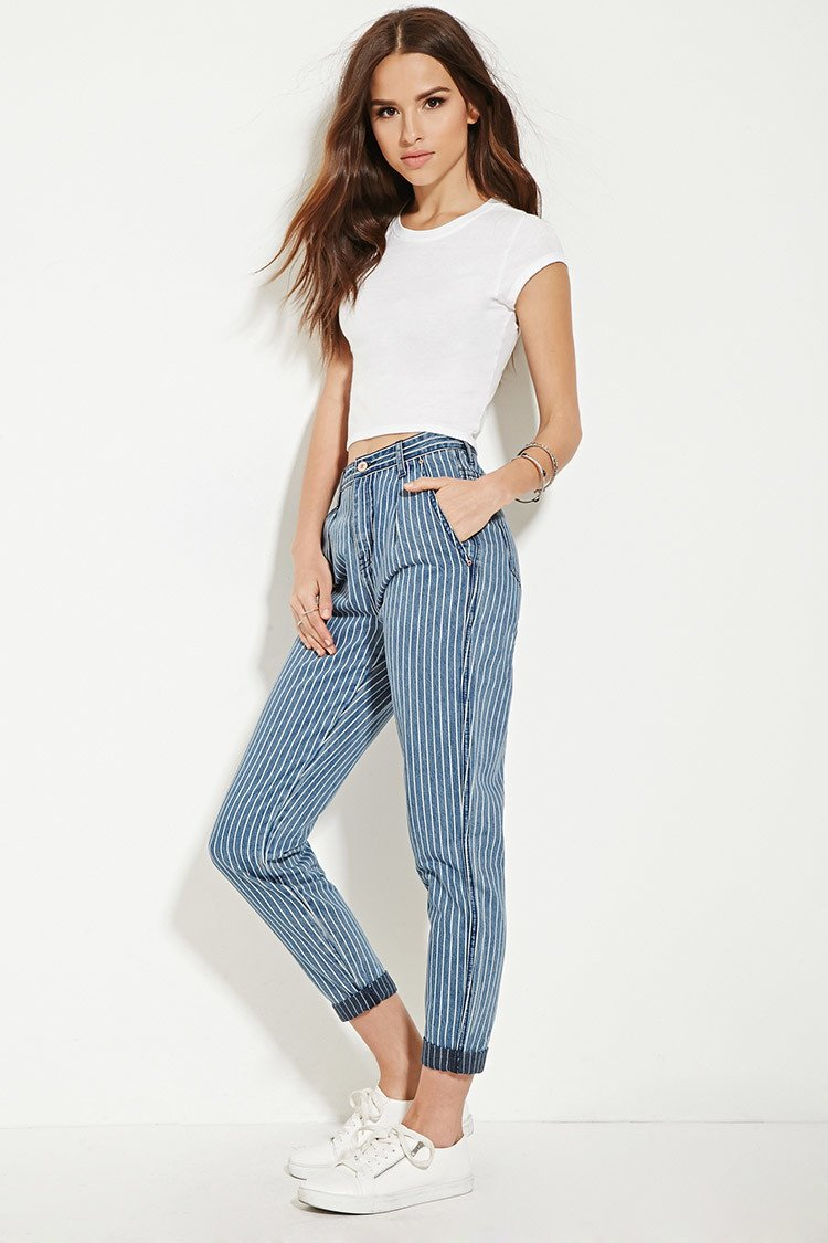 ae88908cd Forever 21 Striped Boyfriend Jeans in Blue - Lyst