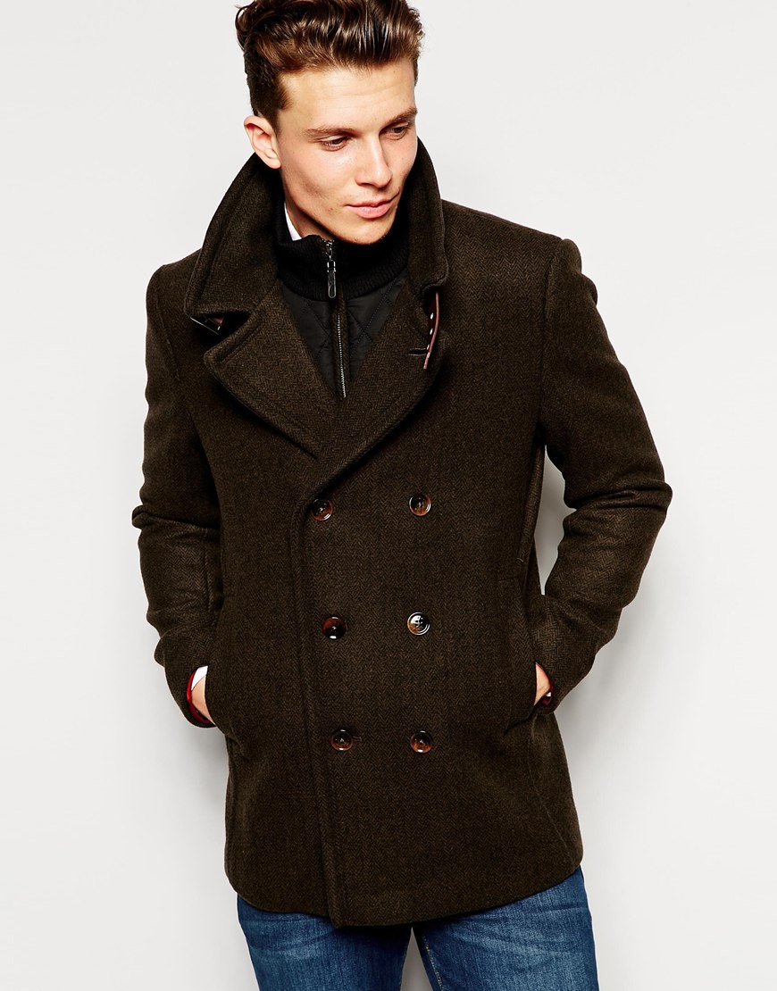 Lyst Ted Baker Wool Pea Coat In Brown For Men