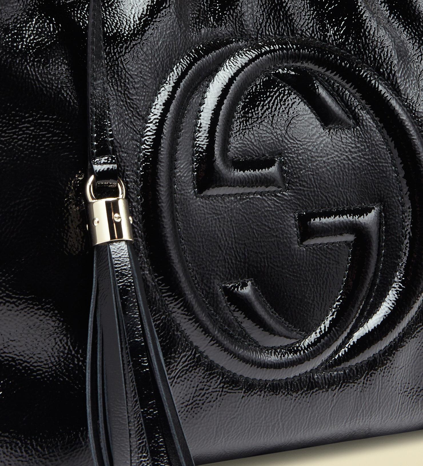Lyst - Gucci Soho Soft Patent Leather Shoulder Bag in Black 75fc5cfba685a
