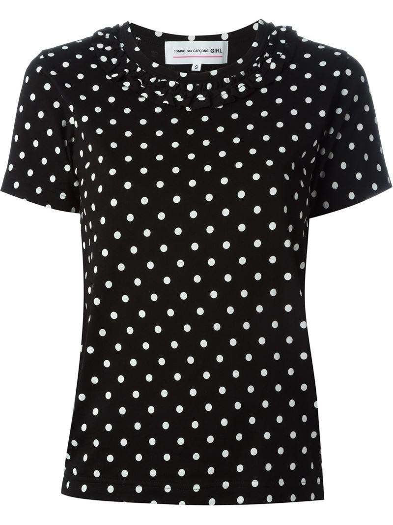Black and white polka dot shirt made of % cotton. This half black and half white polka dot shirt will play tricks on you. Is this polka dot shirt black and white or white and black polka dot regardless it is a nice shirt that is a must have.
