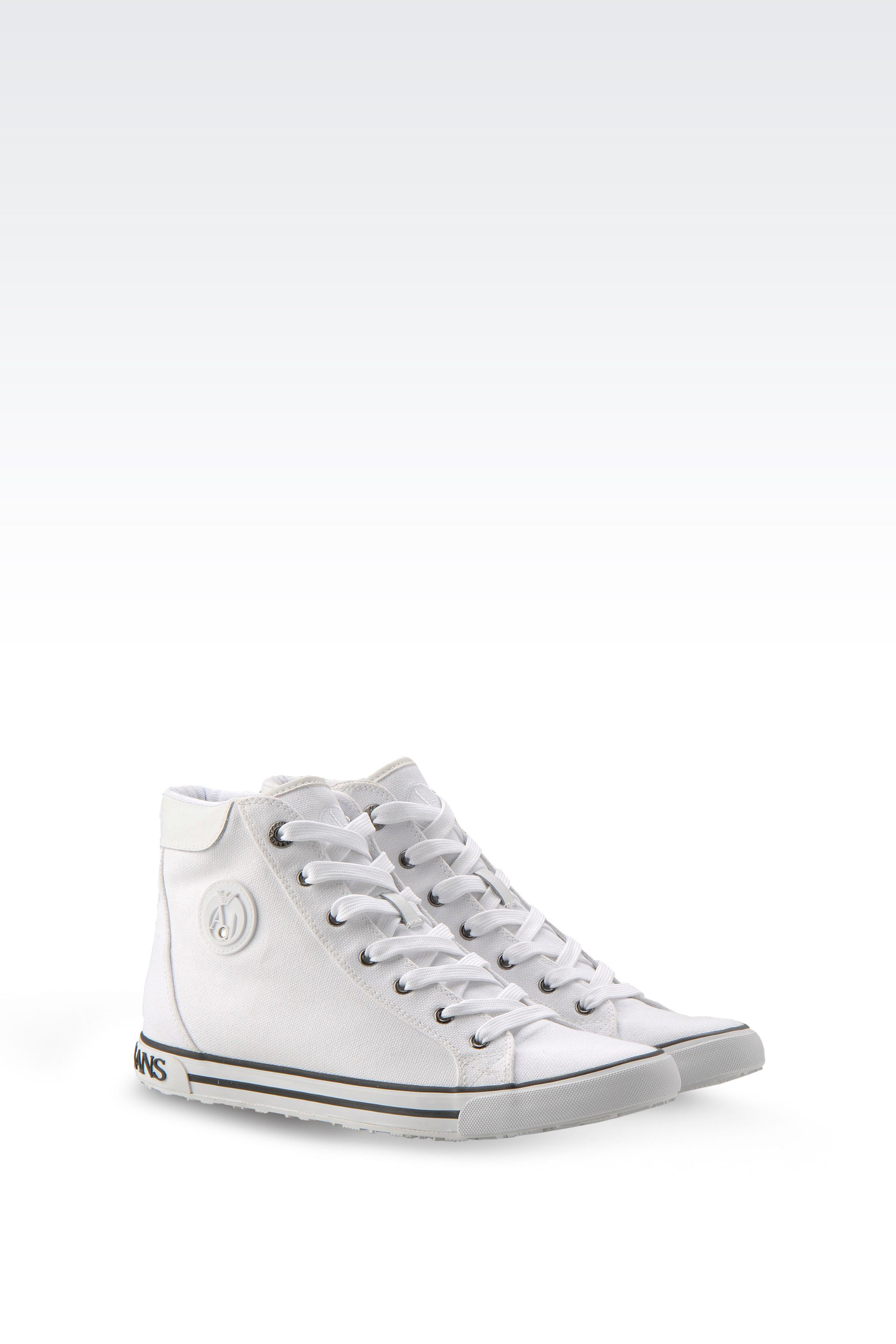 armani jeans hightop canvas sneaker with logo in white lyst. Black Bedroom Furniture Sets. Home Design Ideas
