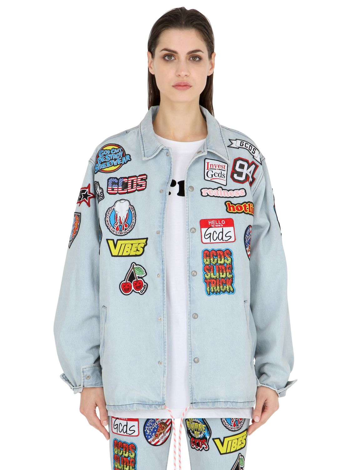 Lyst - Gcds Embroidered Patches Cotton Denim Jacket in Blue