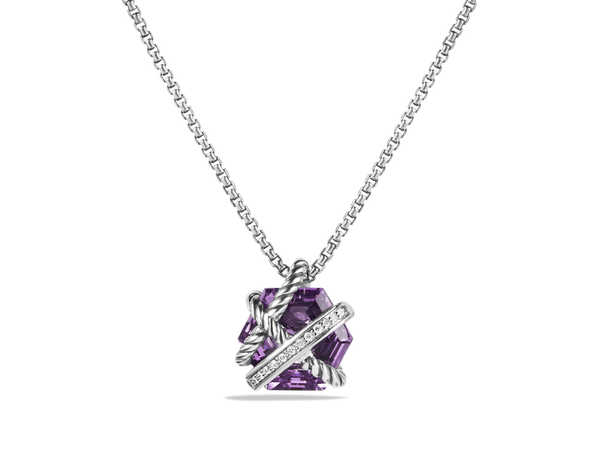 David Yurman Petite Cable Wrap Necklace With Amethyst And