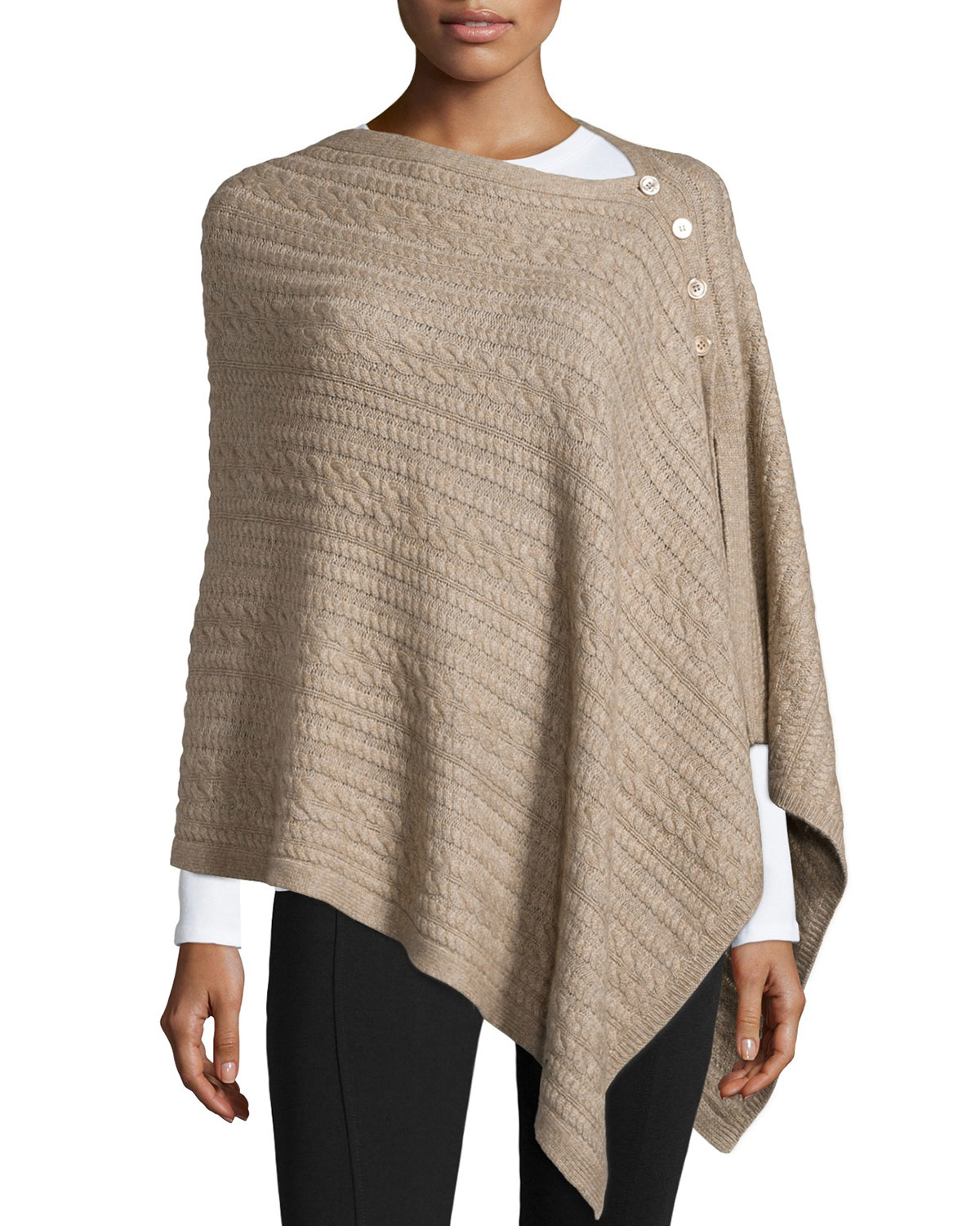 Knitting Pattern Side Button Poncho : Neiman marcus Asymmetric Button-front Cable-knit Poncho in ...