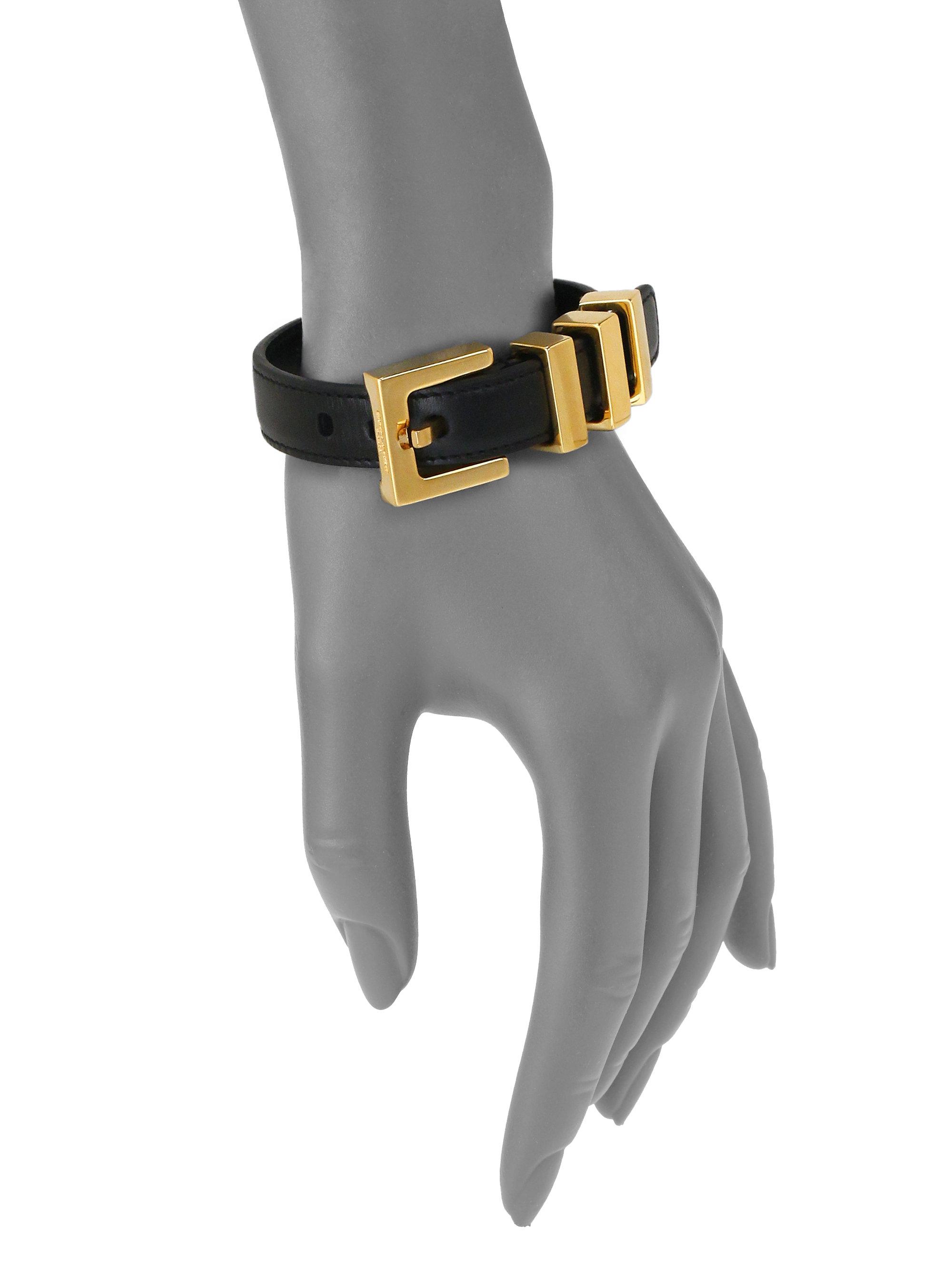 93756137ea6 Saint Laurent Leather Buckle Bracelet in Black - Lyst