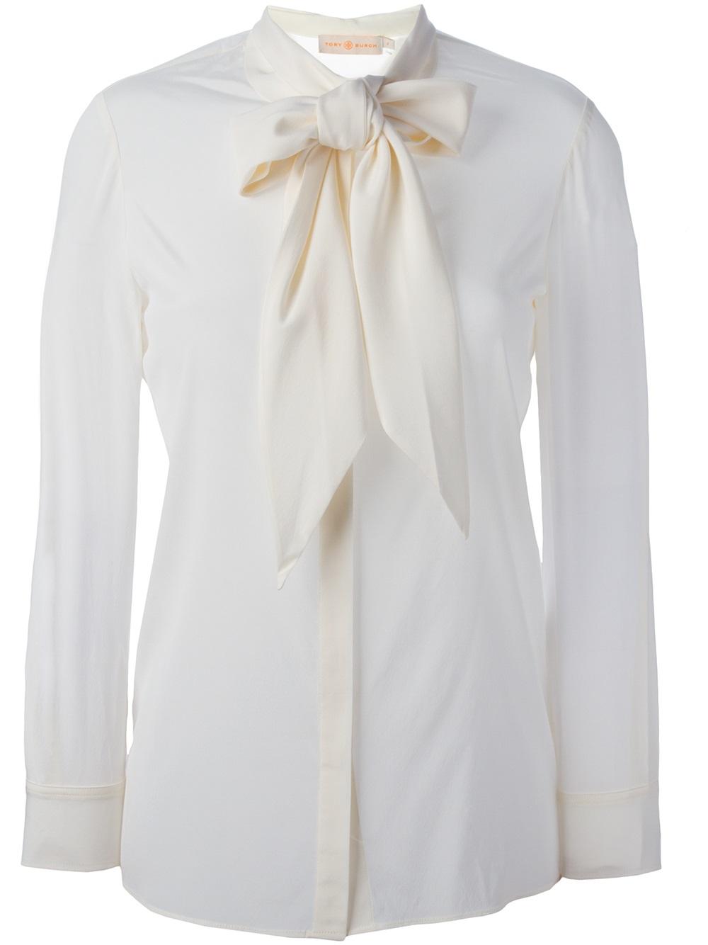 Lyst Tory Burch Silk Tie Blouse In White