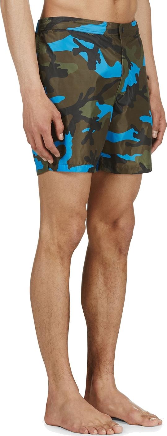 f26f7695c3 Valentino Blue Camo Swim Shorts in Blue for Men - Lyst