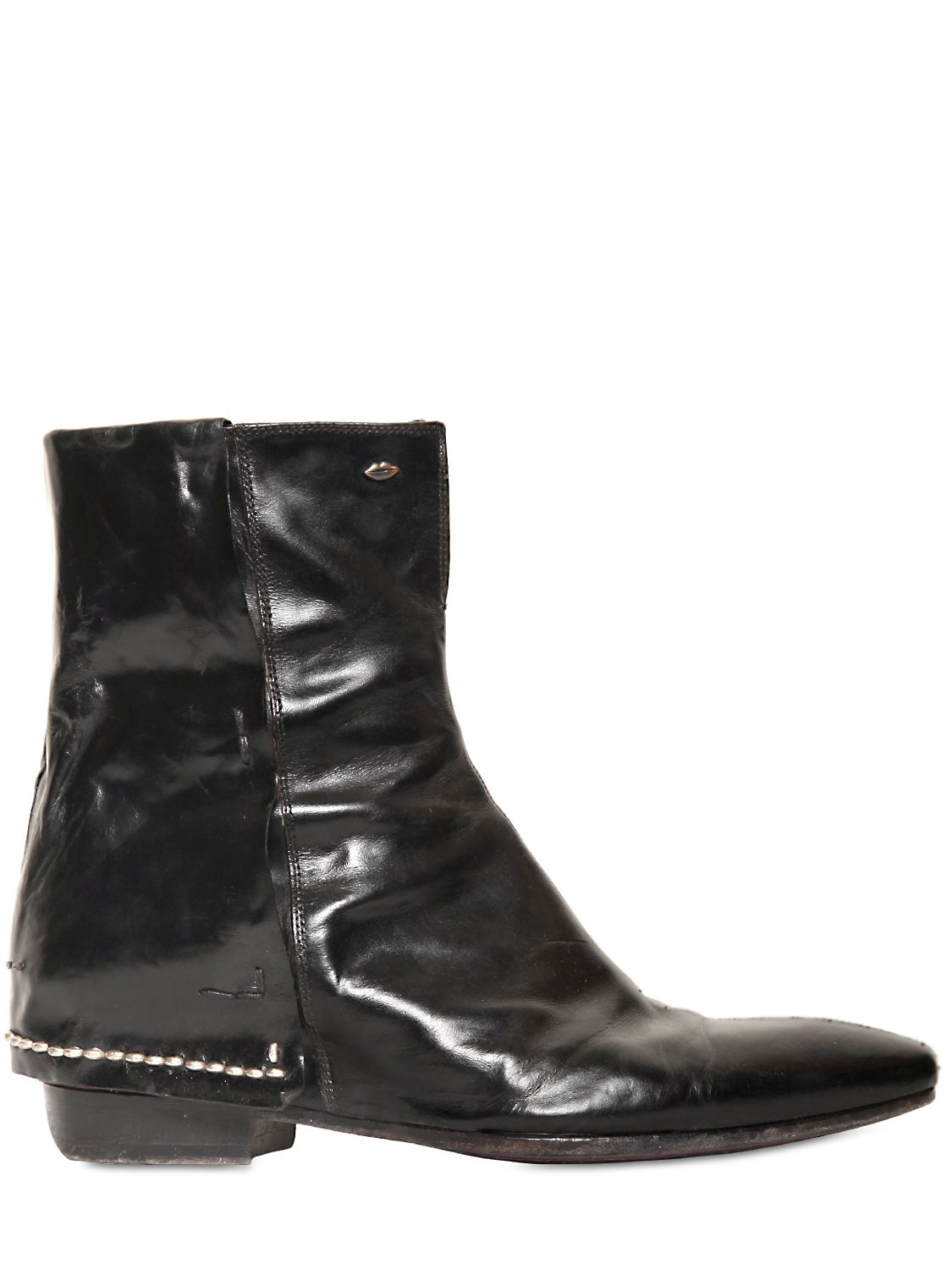 tom rebl vintage brushed leather boots in black for lyst